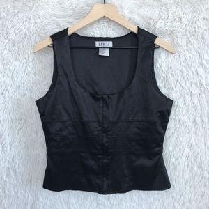 ⚡️MKM Designs | Black Satin Zip Up Vest Medium